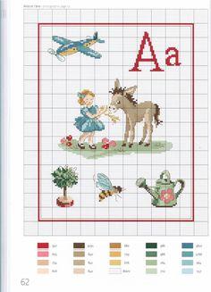point de croix grille et couleurs de fils abecedaire enfants, lettre a