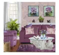 """""""Amethyst Purple Inspired Living Room"""" by dkelley-0711 ❤ liked on Polyvore featuring interior, interiors, interior design, home, home decor, interior decorating, Designers Guild, Osborne & Little, Marmont Hill and Colordrift"""