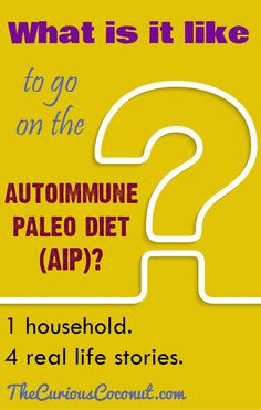 What is it like to go on the autoimmune paleo diet (AIP)? 1 household – 4 real life stories // TheCuriousCoconut… What is it like to go on the autoimmune paleo diet (AIP)? Autoimmune Diet, Aip Diet, Dairy Free Low Carb, Gluten Free, Paleo Books, Free Paleo Recipes, Cleanse Program, Paleo Pizza, Interesting Reads