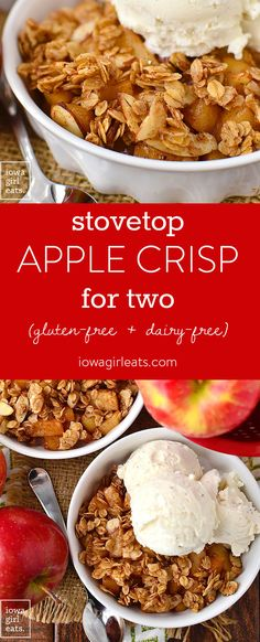 Stovetop Apple Crisp for Two is for when you're craving apple crisp but don't want to make (and eat!) an entire big batch! Just 1 skillet and 15 minutes is all you need for this delicious gluten-free dessert. Vegan Apple Crisp, Caramel Apple Crisp, Gluten Free Apple Crisp, Apple Crisp Easy, Apple Crisp Recipes, Caramel Bars, Gluten Free Desserts, Gluten Free Recipes, Gourmet Recipes