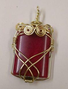 Square brass wire wirewrapped pendant