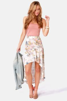 Floral High-Low skirt