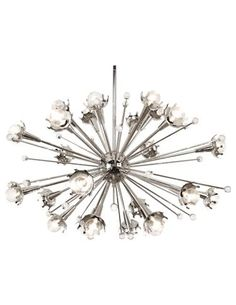 Jonathan Adler designed this dynamic Sputnik chandelier, which looks as though it's exploding in all directions. www.robertabbey.com