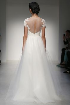 Christos - Bridal Fall 2013    TAGS:Embroidered, Floor-length, Train, White, Christos, Lace, Silk, Tulle, Classic, Elegant
