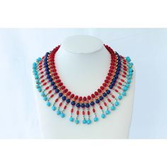 Vintage Turquoise, Lapis and Glass Bead Bib Necklace