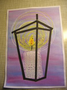 candle in a lantern Christmas Art For Kids, Christmas Arts And Crafts, Xmas Crafts, Christmas Projects, Winter Art Projects, Winter Painting, Art Lessons Elementary, Art Club, Teaching Art