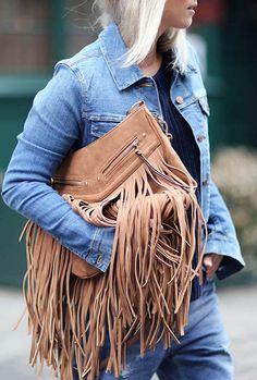 the fashion guitar fashion blog | aldo bag | fringes clutch | total denim