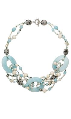 Double-Strand Necklace with Donut Focal, Fossil Beads and Pebble Beads - Fire Mountain Gems and Beads