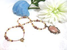 Handmade Beaded Autumn Hickoryite Pendant Necklace
