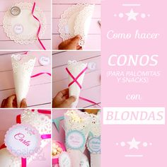 Como hacer conos con blondas Christmas Gift Decorations, Diy Party Decorations, Candy Table, Candy Buffet, Baby Shower Sweets, Ice Cream Party, Kids Corner, Party Time, Diy And Crafts