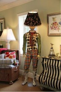Wonderful, Whimsical mannequin lamp by one of our clients, MacKenzie Childs Janet: this is not mosaic but I could do something like this as a mosaic. Diy Luminaire, Diy Lampe, Funky Furniture, Painted Furniture, Halloween Window Display, Mackenzie Childs Furniture, Mackenzie Childs Inspired, Mckenzie And Childs, Mannequin Art