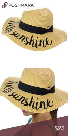 """Womens Beach Embroidered Quote Floppy Brim Sun Hat """"Hello sunshine"""" quote. One size fits most, circumference approximately 57cm Made with 100% paper, brim approximately 3.75""""; crushable and packable for on-the-go Adjustable drawstring to keep the hat secure on breezy days Stay shaded and keep cool with this stylish, fun, sun hat C.C emblem on side, internal sweatband to keep the head cool C.C. Accessories Hats"""