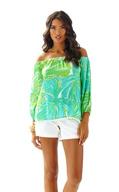 35897f7d384cc3 Enna Off Shoulder Top - Lilly Pulitzer Fashion Room, Fashion Outfits,  Summer Shorts,