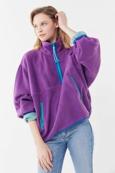 Urban Outfitters Ethan fleece half-zip popover jacket in bright purple plush fleece Flannel Fashion, Kawaii Clothes, Fall Jackets, Urban Outfitters Tops, Fur Jacket, Sport Outfits, Street Wear, Fashion Trends, Women