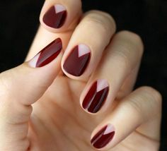 manicure - burgundy nails with bare triangle moons // mani