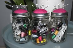 Christmas gifts for my girlfriends! Sewing Kit in a jar.
