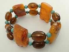 Very Old Chinese Amber Bracelet and Turquoise