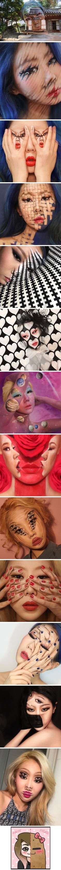 Artist Transforms Herself Into Mind Bending Optical Illusions Without Photoshop - 9GAG