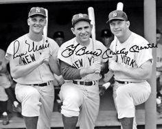 Mantle Maris Berra Autographed Repro Photo - New York Yankees Bronx New York Yankees Baseball, Ny Yankees, Baseball Photos, Baseball Stuff, Baseball Cards, Yankees World Series, Mickey Mantle, Famous Men, Baseball Players