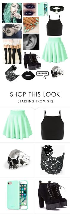 """Pastel Goth #7"" by poizell ❤ liked on Polyvore featuring Stella & Dot, Laut and Lime Crime"
