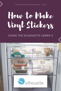 How To Make Vinyl Stickers Using The Silhouette Cameo 4 - The Organized Mama Silhouette Cameo Vinyl, Silhouette Cameo Tutorials, Silhouette Machine, Silhouette Projects, Silhouette Cameo Freebies, Silhouette Design, How To Make Stickers, How To Make Labels, Vinyl Labels