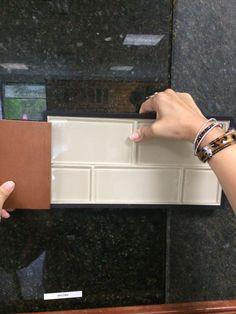 Uba Tuba granite and Buff field subway glass tile for backsplash
