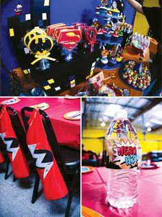 Out of this world superhero party: treats, capes, & water bottles