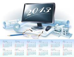 2013 Calendar Blueprint Plans Vector - http://www.welovesolo.com/2013-calendar-blueprint-plans-vector/