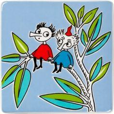 Moomin deco tree Thingumy & Bob by Arabia Moomin Tattoo, Moomin Valley, Tove Jansson, Vintage Pottery, Book Illustration, Iphone Wallpaper, Fairy Tales, Cartoon, Retro