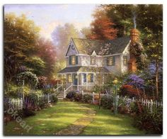 Painter of Light : Thomas Kinkade Heartwarming Paintings - Inviting Front Porch - Romantic Cottage Paintings by Thomas Kinkade 10 Thomas Kinkade Art, L Wallpaper, Painting Wallpaper, Nature Wallpaper, Wallpaper Backgrounds, Kinkade Paintings, Oil Paintings, Thomas Kincaid, Art Thomas