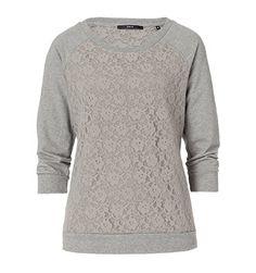 Feminines Sweatshirt mit Spitzenfront