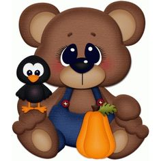 Silhouette Design Store - View Design fall bear sitting w crow pnc Dulceros Halloween, Halloween Painting, Halloween Clipart, Cute Animal Clipart, Bear Clipart, Scrapbook Images, Silhouette Online Store, Owl Pictures, Christmas Paintings