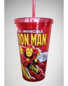 Iron Man Comic Cup with Straw