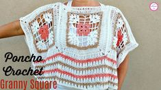 How to Crochet Poncho with Squares - Crafting Time Knitting Videos, Crochet Videos, Crochet Granny, Knit Crochet, Crochet Winter, Crochet Fashion, Crochet Clothes, Sweaters For Women, Shawl
