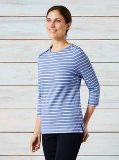 Ringelshirt Deauville Shirts, Closet, Tops, Women, Fashion, Dyeing Yarn, Light Blue, Shoulder, Cotton