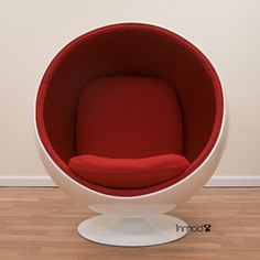 Eero Aarnio Style Ball Chair - Click to enlarge :: warm gray shell + green fabric interior :: in mod.com