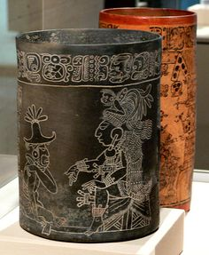 Vessel with an Enthroned Lord and Seated Figure; 765; Mexico, Xcalumkin (Northern Lowlands), Maya culture, Late Classic period (A.D. 600–900); Incised ceramic (fine grayware) with traces of red pigment; 22.9 x 17.2 cm diameter