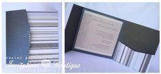Wedding Invitation   # Wedding #Invitation #Pocket #Fold #Black #grey #Brown #Modern #Pearl