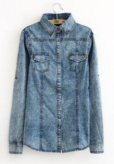 Blue Pockets Rivet Turndown Collar Wrap Denim Blouse