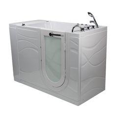 """Ella Walk In Bath Chi Acrylic 52"""" x 32"""" Walk-in Combination Bathtub #WhirlpoolBathtubs"""