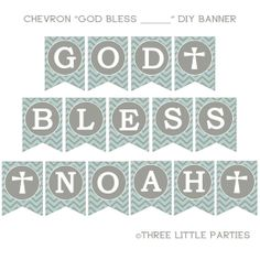 Printable Baptism Banner, Chevron Banner, Blue and Gray or Pink and Gray Banner, Personalized DIY