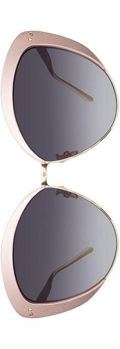 Linda Farrow Capped Cat-Eye Sunglasses, White Gold/Pink