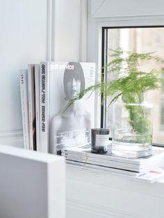 simplistic soft fern fronds in glass vase white grey decor Window Ledge Decor, Window Frames, Window Ideas, Kitchen Window Sill, Plants On Window Sill, Bedroom Windows, Windows Decor, Deco Design, Feng Shui