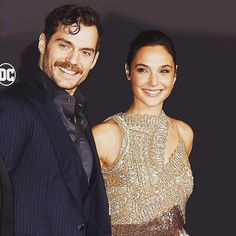 Henry Cavil and Gal Gadot at the premiere of Justice League (2017).