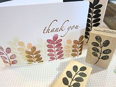 thank you stamp card (Impress Rubber Stamps) - I like the way this was stamped (fern stamp?)