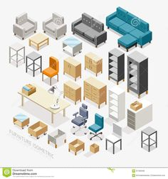 furniture-isometric-icons-vector-illustration-67183348.jpg (1300×1390)
