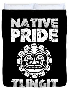 The Tlingit Duvet Cover featuring the digital art Native Pride Tlingit 2 by Otis Porritt