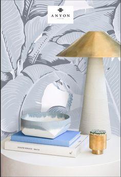 Montecito Lamp - Cori x Anyon Sky Bowl - Brass Match Striker - CW Stockwell Martinique Wallpaper Contemporary Furniture, Vignettes, Home Furnishings, Luxury Homes, Brass, Sky, Interior Design, Wallpaper, Classic