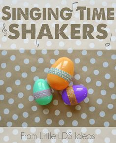 Today I'm sharing another idea my amazing Mother thought of and uses often during Singing Time. I don't remember what she called these, but I'm going to call them Singing Time 'Shakers'! During Singing Time do you ever have the children clap the beat? Or maybe you have them snap or pat their laps. Well, here's something new you could do…Shakers! My Mom came up with the idea of filling plastic Easter eggs with different objects and then having the...  Read more »
