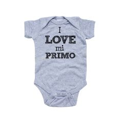 Apericots - I Love Mi Primo Spanish My Cousin Cute Short Sleeve Baby Bodysuit, $11.99 (http://www.apericots.com/i-love-mi-primo-spanish-my-cousin-cute-short-sleeve-baby-bodysuit/)